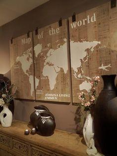 Wereldkaart 3 luik hout. Afm. per paneel 70 x 125. In het bericht op onze website staat ook een klein filmpje van dit fraaie 3 luik. World Map Wall Art, Creation Deco, Travel Wall, Home Decor Inspiration, Picture Wall, Cottage Style, Wooden Signs, Home Projects, Decorative Accessories