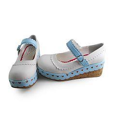 Handmade Blue And White PU Leather 7cm Wedge Sweet Lolita Shoes – AUD $ 84.90