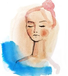 This is giclee print of an original watercolor painting and charcoal drawing. The background is a beautiful abstract wash of peach and blue. On top is a delicate minimalist charcoal drawing of a woman. This colorful but serene piece will liven up any corner of your home, but I think it would be particularly pretty in a bathroom. The print is on smooth matte archival paper and will last beautifully for 150 years!  If you are interested in purchasing the original watercolor, it can be found…