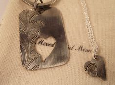 Silver Necklace/ Silver  Key Chain / Wedding by mixedmetalmimi, $44.95