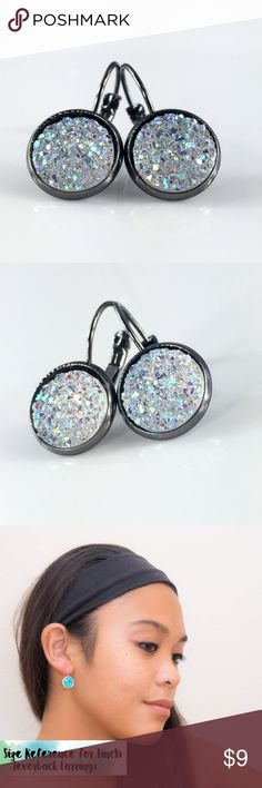 Flat clear sparkly faux druzy gunmetal earrings Handmade by me flat clear sparkly Druzy style 1 inch gunmetal tone frenchback earrings. Bundle & save 15%. Price FIRM if purchasing 1 pair. Each piece varies slightly in shape. Made of resin. thejeweladdict Jewelry Earrings
