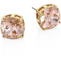 Tory Burch Tory Set Crystal Stud Earrings ($68) ❤ liked on Polyvore featuring jewelry, earrings, apparel & accessories, vintage rose, gold colored earrings, rose earrings, cushion cut earrings, vintage rose earrings and vintage stud earrings