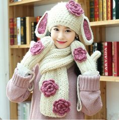 Hand knit rabbit ears hat scarf and gloves set for girls