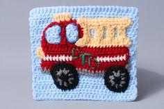 Fire Truck Crochet Applique Pattern by ThePerfectKnotCrochet on Etsy, $5.00 USD PDF File