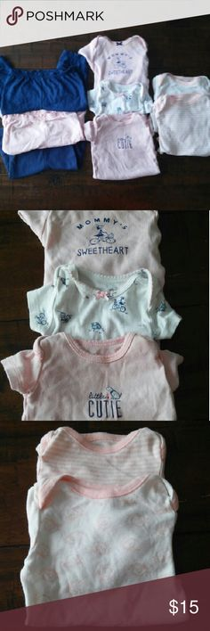 Carter's Baby Girl Onsies & Pants Lot 2 short sleeve 3 long sleeve (2 of them are Old Navy brand) 3 pants  Excellent condition Carter's One Pieces Bodysuits