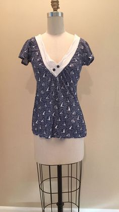 Anthropologie Sea's Epitome Sailboat Sailor Nautical Navy Tee by Porridge Small #Porridge #vneck