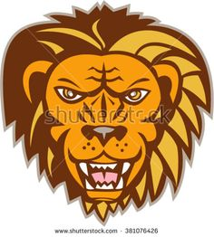 Illustration of an angry lion big cat head growling showing teeth fangs viewed from front set on isolated white background done in retro style.  - stock vector #lion #retro #illustration