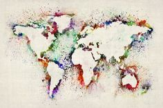 """Map of the World Paint Splashes"" by Michael Tompsett, Castellon // Imagekind.com -- Buy stunning, museum-quality fine art prints, framed prints, and canvas prints directly from independent working artists and photographers."