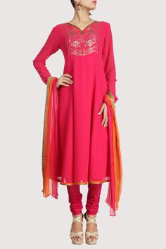Pink Suit with Sequined Neckline. Shop Now: www.karmik.in/shopping/index.php