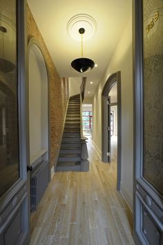 Small House Wood Floors Exposed Brick Design Ideas, Pictures, Remodel, and Decor - page 10 Brick Design, Floor Design, House Design, Ceiling Design, Wall Design, Natural Wood Flooring, Dark Wood Floors, Oak Flooring, Hardwood Floor
