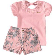 Conjunto Infantil Feminino com Shorts Floral Rosa - Milon :: 764 Kids | Roupa bebê e infantil