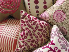 Collection of cushions from William Yeoward's line with Designers Guild Red Pillows, Throw Pillows, Mulberry Home, Embroidered Cushions, Designers Guild, Home Wallpaper, Fabulous Fabrics, House And Home Magazine, New Kids