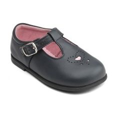 Navy Blue Leather Girls Shoes