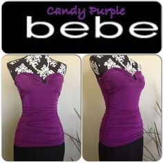 "Flirty Candy Purple BeBe Top This flirty Candy Purple BeBe blouse is sure to turn heads when you're out for the night! Made of spandex material that will hug your curves and has a ""u"" shaped accent on the chest area.  Great condition! No rips, tears, stains, or holes! bebe Tops"