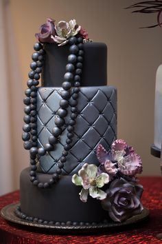 Black quilted wedding cake