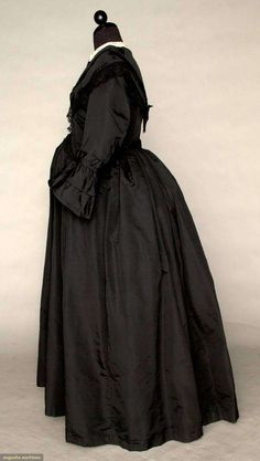 1870, Silk mourning dress (possibly maternity--possibly a wrapper)