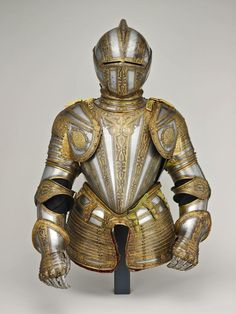 Northern Italian, Milan    Half Armor for Foot Tourney at the Barriers, 1575/80    Steel with gilding, brass, leather, velvet weave, lace