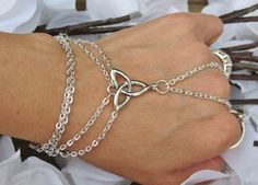 Celtic Hand Chain Slave Bracelet Ring by TheMysticalOasisGlow, $19.00