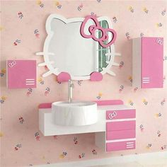 hello kitty wall mirror for sale. Hello Kitty Wall Decal Room Decor Sticker Mirror Surface For Nursery Kids Pink Color Inside Wall. Hello Kitty Bathroom, Hello Kitty Rooms, Hello Kitty House, Hello Kitty Themes, Hello Kitty Room Decor, Hello Kitty Stuff, Cat Bedroom, Bedroom Decor, Kawaii Room