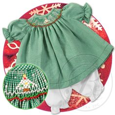 Snowy Christmas Tree Green Tiny Gingham Smocked Doll Dress 13H 4822DD