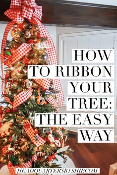 Christmas Tree Decorations Ribbon, Christmas Tree Decorating Tips, Ribbon On Christmas Tree, Holiday Tree, Xmas Tree, Days To Christmas, Christmas Wreaths, Holiday Fun, Christmas Ornaments