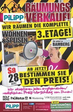 Räumungsverkauf der 3. Etage Wohnen & Speisen am 28.03.2015 in Bamberg - Ab jetzt bestimmen Sie den Preis!