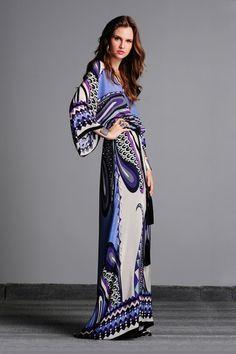 Amber V-Neck Kimono Sleeves Long Silk Dress on HauteLook