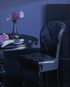 Black leather chair and table. By Jørn Møbius, oil painting