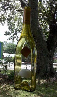 fun groovy glass wine bottle wind chime idea
