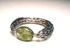 Double Viking Knit Ring With Peridot Accent by OddsAndEndsByKaley, $30.00