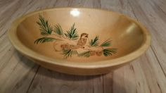 """Vintage Hand Painted Craft Wood Co. Kittery Maine Wooden Bowl 9.5"""" with Bird #Americana #CraftWoodCompany"""