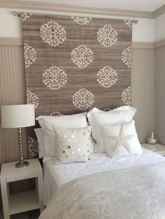 h: headboard idea (rug, tapestry or heavy fabric)