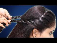 Braided Bun Hairstyles, Side Hairstyles, Indian Hairstyles, Simple Hairstyles For Girls, Latest Hairstyles, Front Hair Styles, Medium Hair Styles, Side Braids For Long Hair, Simple Bridal Hairstyle