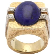 1970's Gold Hand Hammered Lapis Lazuli & Diamond Ring | From a unique collection of vintage more rings at http://www.1stdibs.com/jewelry/rings/more-rings/