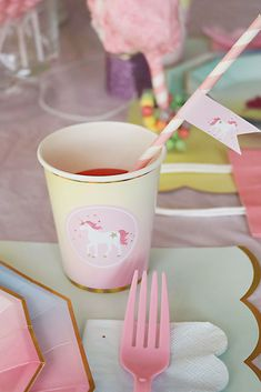 Unicorn Straw Flags