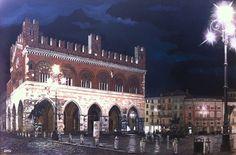 "Diego Maria Gradali (Italian contemporary painter) - ""Piazza Cavalli, Piacenza"" - Acrylic on canvas (Private collection)"