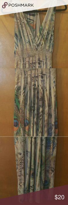 Yunique maxi dress Fun, peacock printed flattering maxi dress w/racer back Dresses Maxi