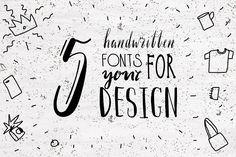NEW! 5 Handwritten font for design. by mikka_kika on @creativemarket
