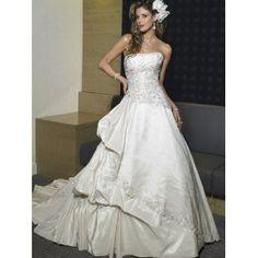 Ivory Strapless A-line Applique Cathedral Train Taffeta Wedding Dress for Bride