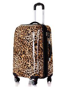 98ffe19240bf Ferducci Women Leopard Print Brown Trolley Suitcase Travel Luggages - 24