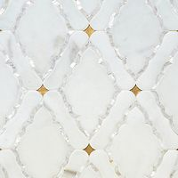 Josephine, a waterjet mosaic shown in Shell, Venetian honed Calacatta and honed 24K Gold Glass, is part of the Aurora™ Collection by Sara Baldwin for New Ravenna.<br /> <br /> For pricing samples and design help, click here: http://www.newravenna.com/showrooms/