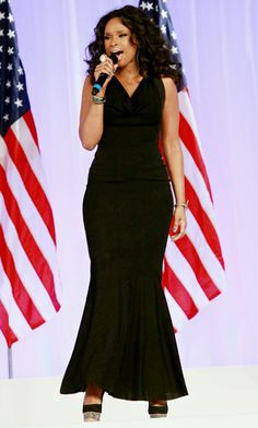 """The singer performed Al Green's """"Let's Stay Together"""" for President Barack Obama and First Lady Michelle Obama's first dance at the Inaugural Ball. Hudson showed off her curves in a black fitted dress."""
