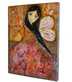 Fairy in Rose   Spring  Original Painting on Canvas by FlorLarios, $300.00