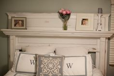 wants a mantle headboard!Wifey wants a mantle headboard! Mantle Headboard, King Headboard, Headboard Ideas, Door Headboards, Custom Headboard, Home Bedroom, Bedroom Furniture, Bedroom Decor, Bedroom Ideas
