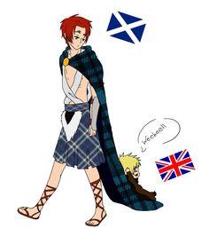 Scotland and Chibi!England by DestinysSky.deviantart.com on @DeviantArt