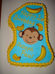First birthday monkey cake by Charley And The Cake Factory, via Flickr
