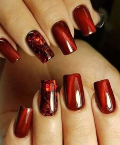Nail Art Designs In Every Color And Style – Your Beautiful Nails Red Nail Designs, Acrylic Nail Designs, Burgundy Nail Designs, Fall Nail Art Designs, Fingernail Designs, Matte Nails, Red Nails, Red Glitter Nails, Glitter Makeup