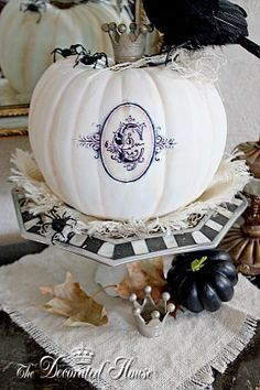 The Decorated House: ~ Halloween Decorating in Black & White with Mercury Glass. Computer generated monogram sealed and adhered. White Pumpkins, Fall Pumpkins, Halloween Pumpkins, Halloween Crafts, Holiday Crafts, Holiday Fun, Halloween Ideas, Glass Pumpkins, Holiday Ideas