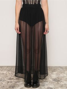 High Waist Sheer Open Front Overlay Maxi Skirt with Buttoned Faux ...
