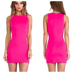 For Love & Lemons Bright Pink Scalloped Dress Sz S ❌NO TRADES❌  - For Love & Lemons Bright Pink Scalloped Dress Sz S  - Scallop edged dress with back zipper  - 50% Nylon, 45% Acrylic, 5% Spandex; unlined  - Good used condition. Small mark under left arm & split seam below zipper (see photos) For Love and Lemons Dresses Mini